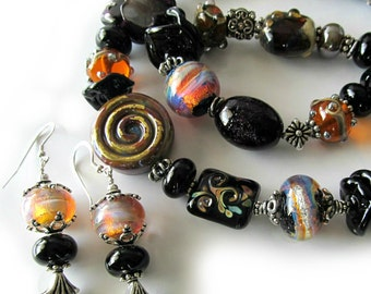 Lampwork Necklace and Earrings, Bali Silver, Sterling Silver, Black, Gold, Tan, Caramel, Iridescent, Pendant, ON SALE Was 429 now 329