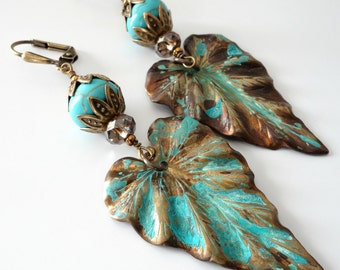 Brass Leaf Earrings, Verdigris Patina Finish, Turquoise Howlite Stone, Autumn Jewelry, Lightweight, Beaded Jewelry, Beaded Earrings, OOAK