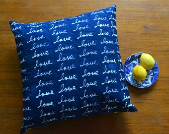 LOVE Hand Dyed and Patterned Indigo Pillow Cover