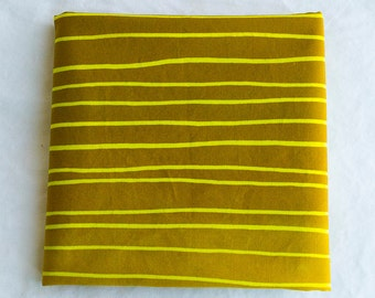 Skinny Stripes hand Dyed and Patterned Cotton Fabric/ Yellow and Amber/Half Yard