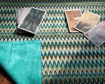 Altar / Tarot Cloth or Rune Reversible Cloth - Zig Zag