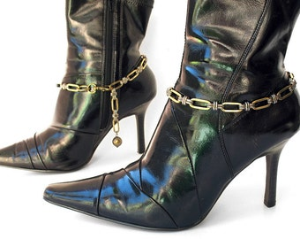Silver and Golden Metal Boot Chains Ankle Bracelet Boot Jewelry, EcoFriendly, Made in USA, OOAK