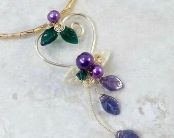 ON SALE Fairy Heart Necklace in Mardi Gras Colors