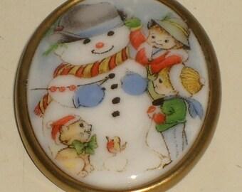 Vintage snowman, winter-Christmas brooch