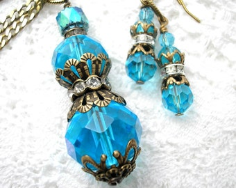 Aquamarine Perfume Bottle Style Pendant with Earrings - Antiqued Brass Pendant