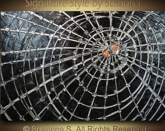 ORIGINAL Spider Art Painting Thick Texture Abstract Spider Web Halloween Decor Modern Fine Art black silver copper by Susanna Made to Order