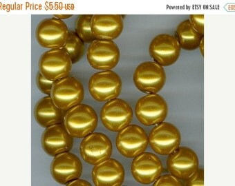 CLEARANCE 10mm Golden Yellow Glass Pearl Round Beads