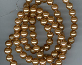 10mm Tan Brown Glass Pearl Round Beads