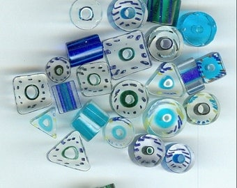 Shades of Blue Glass Beads Set 25 Mixed sizes and shapes 1158B
