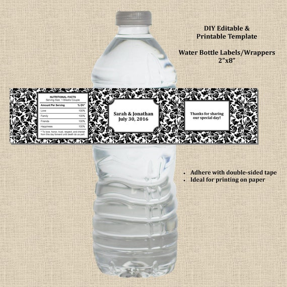 wedding water bottle label wrapper 2x8 black white damask