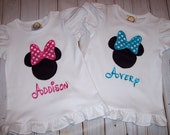 Minnie Mouse Applique Ruffle Style Short or Long Sleeve T-shirt you choose color - birthday party - toddler girl - vacation - monogram shirt