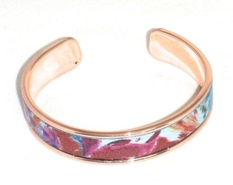 Multicolored Blue Purple Yellow Orange Pink Watermelon Leather Rose Gold Cuff Bracelet