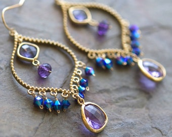 Amethyst Purple Chandelier Earrings, Goldtone, Gemstone, Glass, Wire Wrapped, Handmade, with 14K Gold Fill French Wires