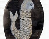 Grey Sea Bird / watercolour gouache original
