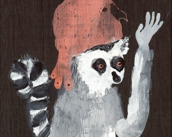 Lemur with Bird Mask / watercolour gouache original