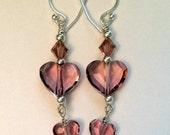 Pink Heart Sterling Silver Earrings, Heart Earrings, Pink Heart Earrings, Pink Crystal Earrings, Pink Crystal Sterling Silver Earrings