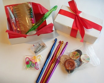 Crochet Goody Box - Hooks, Sewing Pins, Buttons Needles, Stitch Markers and more//Gift set// Stocking Stuffer