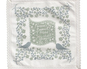 Two Birds Bridesmaid Handkerchief Collaboration Grey
