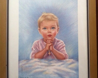 And Bless Everyone 60s Mid Mod Childs Picture Pink Blue  Gold epsteam Decor Spirituality Sale