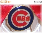SALE 10% OFF Handmade Wedding Garter with Chicago Cubs charm Keepsake  Satin w-rrw