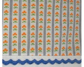 Barely Used Vintage Pennys Small Orange Floral Blue Rick Rack Border Full Flat Sheet 84