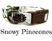 "Snowy White Green Fir Needles Pinecones Festive Christmas Dog Collar - Organic Cotton - Antique Brass Hardware - ""Snowy Pinecones"""