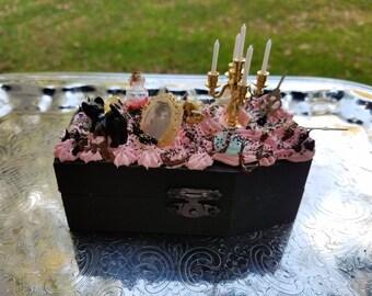Decoden Black Coffin Trinket Box