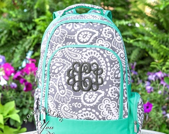 Parker Paisley Monogrammed Backpack, Girls School Bookbag, Personalized School Bags for Girls, Grey Gray and Mint Backpacks, Kids school bag