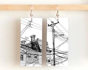 """Walking in Bloomfield, Paper & Wood Earrings, 1x2.25"""""""