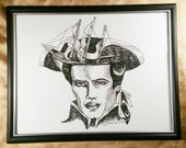 Ship, captain, illustration, nautical, black and white , pen and ink, portrait, surrealism,  Dame Darcy