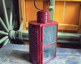Colonial Red Pierced Tin Lantern
