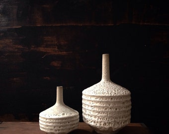 MADE TO ORDER-  2 stoneware crater vases by sara paloma.  Matte white texture lava glaze architectural pottery mid century modern vases vase