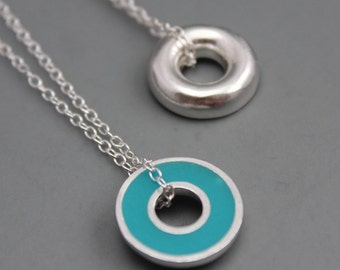 Argentium Silver and Teal Blue Resin Donut Pendant