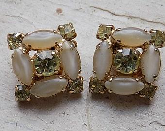 FREE SHIPPING Vintage Rhinestone Clip Earrings