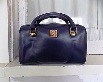 Vintage Navy Blue Leather Anne Klein Doctors Purse Clutch Handbag