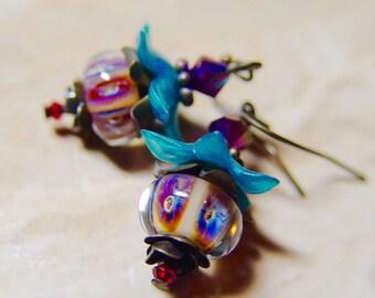 Aqua and Purple Boro Lampwork Fuchsia Flower Brass Earrings