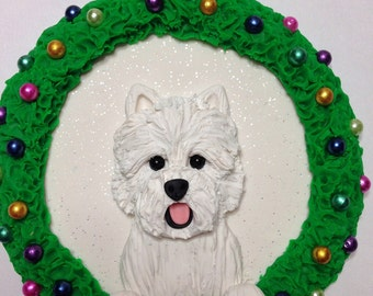 Westie Christmas Ornament - Hand Sculpted Clay Westie Dog Christmas Gift
