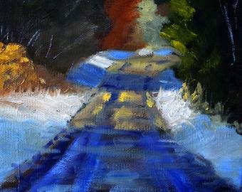 Winter Landscape Oil Painting, Snowy Road, Small 8x8 Canvas, Original Rural Scene, Blue Brown, Gold Trees, Wall Decor, Fine Art
