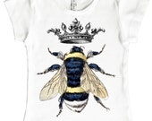 Queen Bee Shirt, Girls Top, Cap Sleeve, Bumble Bee and Crown, Short Sleeve Shirt, Retro Graphic, size 2, 4, 6, 8, 10, or 12