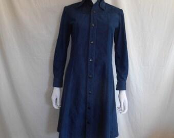 Vintage Denim jean dress, Selvedge long sleeve dress, 60s 70s dress