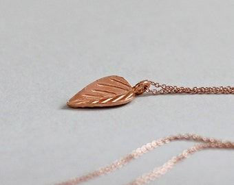 Rose Gold Necklace Rose Gold Leaf Necklace Layering Necklace Leaf Pendant Minimal Jewelry Wife Gift Nature Jewelry Rose Gold Fill & Vermeil
