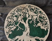 Tree of Life Sacred World Tree Natural Cherry Back  Wooden Wall Hanging Color Choice