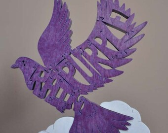 Purple Rain Tribute to Prince Dove Puzzle  Hand  Cut with Scroll Saw