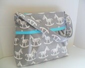 Diaper Bag - Blue Horse - Turquoise - Adjustable Strap - Horse Diaper Bag - Messenger Bag - Bags and Purses -  Stroller Straps