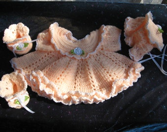 Hand Crocheted Peach Ruffled Baby Dress Bonnet and Booties 0 to 3 Months