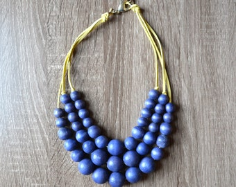 Navy Blue Statement Necklace - Chunky Necklace