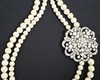 Wedding Statement Necklace Pearl Bridal Necklace Wedding Jewelry Art Deco Bridal Jewelry Vintage Large Brooch Rhinestone Crystal Gatsby KARA