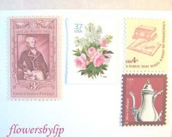 Pink Floral Postage Stamps, Teapot Stamp, Lafayette Stamp, Book Stamp, Mail 10 Letters, Cards, Tea Party Invitations 1 oz, 47 cents postage