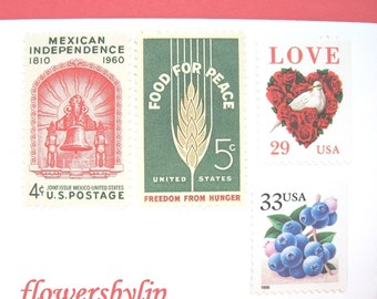 Wedding Postage Stamps, Love Peace Mexico Berries Stamps, Mail 20 Invitations Mexican Destination Wedding 2018 rate, 71 cent US postage 2 oz