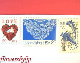 Wedding Postage Stamps Vintage, Lace Stamps, Love Dove Red Rose Stamps, Blue Jays Audubon Rare, Mail 20 Wedding Invites 2 oz 68c, red & blue